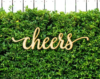 Script Cheers Wood Sign-Wood Sign Art, Wooden Cheers, Cheers Sign, Laser Cut Wood Sign, Wood Wedding Decor, Cursive Cheers, Event Decor