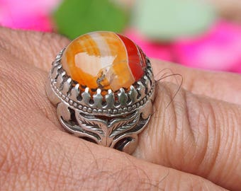 antique handmade Silver Carnelian stone turkmen statement AQEEQ  ring from Afghanistan No:17/449