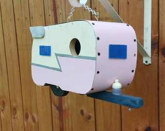 Pink and Ivory Shasta Trailer Birdhouse Caravan Birdhouse with Silver Z & Wings!