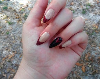 MARY- dream daddy ddadds inspired nude press on nails false full cover wine red french goth glue on nails for cosplay costume drag queen
