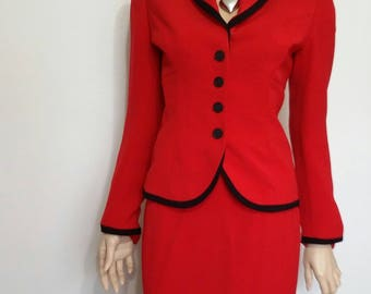 Red suit, XS, S, 80's suit, lined suit, red and black suit, fitted suit, mob, mother of bride, career suit, work suit