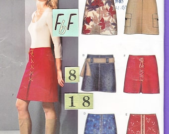 Women's Flared, Low Rise Short Skirt Sewing Pattern/ New Look 6299 easy, front pleated, above knee skirt UnCut/ Size 8 10 12 14 16 18