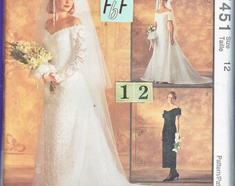 Off Shoulder, Drop Waist Wedding Dress Sewing Pattern/ McCalls 7451 Womens fitted evening gown, detachable train/ Size 12