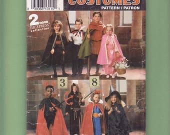 Robin Hood, Maid Marian, Devil, Costume Sewing Pattern/ Simplicity 0635 Easy Sleeping Beauty, Grim Reaper, Dracula UnCut/ size 3 4 6 8 year