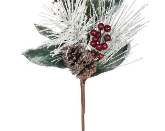 Snow Pine with Berries Stem 21""