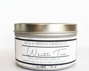 8 oz Natural Soy Candle White Tea Scented | 8 oz Tin Candle | Tea Soy Candle | White Tea | Scented Soy Candle | Soy Candles