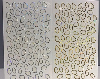 Holographic Gold Silver Frame Decal Stickers Japanese Nail Deco Nail Art Accessories Gems Stones Border 1 sheet Rainbow