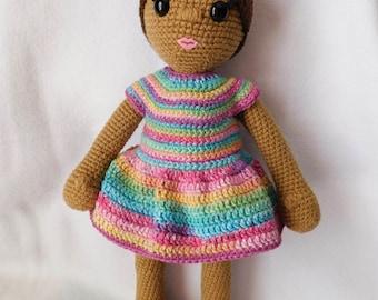 Crochet Doll Pattern, African American doll pattern, Bianca Doll Set