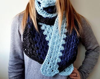 Super Soft Crochet Super Scarf | Blue and Black Scarf | Super Scarf | Crochet Scarf | Blue Crochet Scarf | Crochet Super Scarf