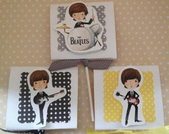 The Beatles, Ringo Starr, George Harrison, Paul McCartney, John Lennon Party Lollipop favors - Set of 10