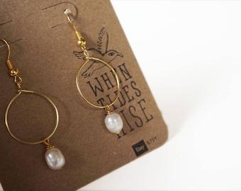 pearl hoop drop earrings, pearl dangle earrings