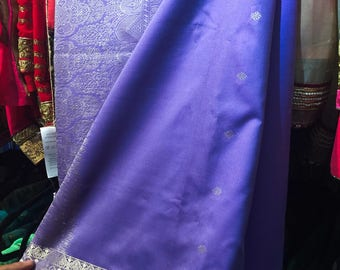 SALE 75.00 Art Silk Sari, Periwinkle Blue Saree with Pale Silver/ Gold Brocade Border, Sari Fabric, Indian Fabric, Sari Silk, Sari Curtain
