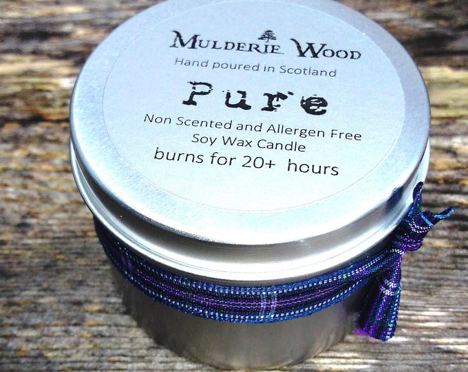 Featured listing image: Pure Natural Unscented Fragrance Free Soy Wax Tin 20+ Hour Candle Handmade in Scotland