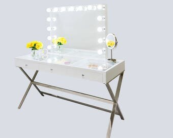 XX LARGE Gleaming Gloss White Glass Top Fantasy Makeup Vanity Table  Stainless Steel Legs U0026