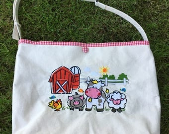 Embroidered Tote Bag for personalization - Farm Scene, Red Gingham lining, zippered inside pocket, open pockets in lining, key hook