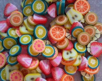 100 pcs, sliced fimo fruits, Nail art, fruit slices, polymer clay fimo canes slices