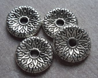 Beads washers, separators, ethnic spacer beads, bead caps, Sun sheet, silver - 12 x 12 mm