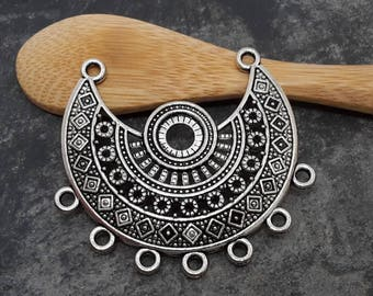 1 pcs, bib, Chandelier connector half moon, large tribal ethnic connector, silver Metal, 38 mm
