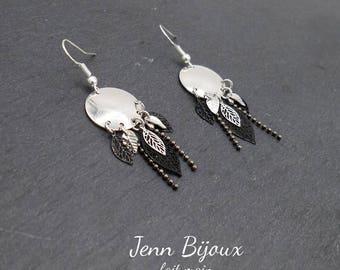 Black and silver - leaf prints, connectors chandeliers earrings