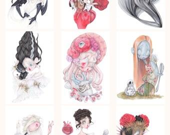 9 halloween pop surrealism art prints tim burton gothic goth vampire addams family skull sally lolita frankenstein