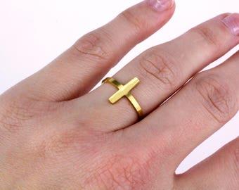Gold Bar Ring, Adjustable Bar Ring, Bar Ring, Dainty Bar Ring, Minimalist Ring, Dainty Gold Ring, Everyday Ring