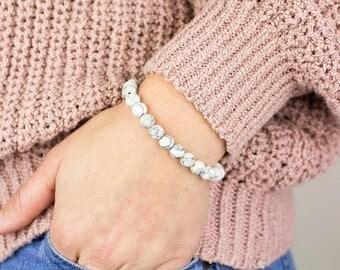 Marble Bead Bracelet, Howlite Bracelet, White Marble Bracelet, White Bead Bracelet, White Beaded Bracelet, White Howlite, Marble Bracelet