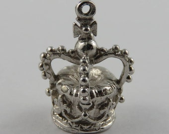 King's Crown Sterling Silver Vintage Charm For Bracelet