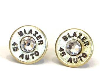 Brass 45 Auto Bullet Earrings with Swarovski Crystals, Women's jewelry, Bullet earrings, Handmade jewelry, Valentine gifts