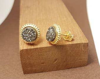 Silver earrings,Druse ,Gold plated, Boho earrings,Gift