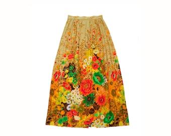 Women's Vintage 1960's Floral A-Line Maxi Skirt // Lightweight Long Skirt // Pleated Maxi Skirt // 60's Vintage //