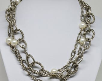 Gorgeous Silver tone Multi Stand Necklace