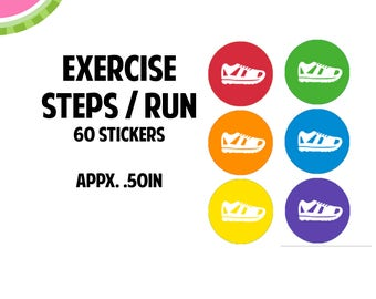 Exercise/Steps/Running/ Walking Icon Stickers   60 Kiss Cut Stickers   IC054