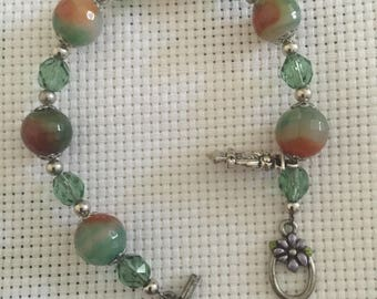 Agate semi-precious stone bracelet, faceted, with