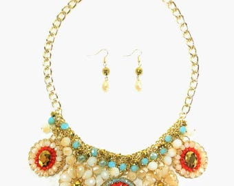 Miss Daisy - Red Statement Necklace & Earring Set