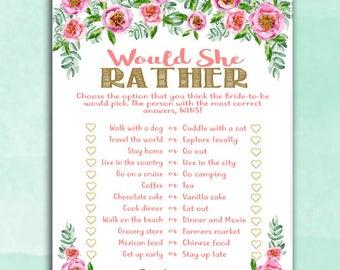 Bridal Shower Game - Would She Rather - PINK PEONIES Floral - Instant Printable Digital Download - Bridal Shower Printables Instant Download
