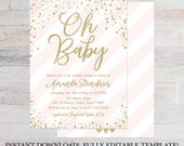 Pink Vertical Stripes Shower Invite Printable, Editable Baby Shower Invitation, Editable Baby Shower Invite, Invitation Instant Download