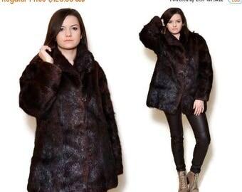 25%OFF Black Fur Jacket Collared Short Coat 80s Vintage Long Sleeve Fluffy Long Square Dark Brown 80s Fur Country Western