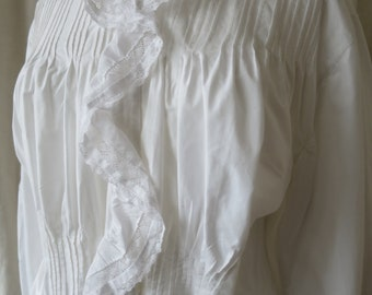 Antique Victorian Frilled White Cotton Night Gown