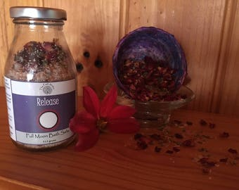 Release Full Moon Bath Salts Ritual Soak Relaxation Aromatherapy Essential Oils Crystal Essences Dried Herbs Flowers Reiki Affirmations Tub