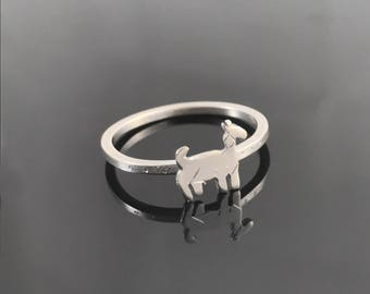 Goat ring - Sterling silver goat - Goat jewelry - Animal ring - Sterling silver animal ring - Farm animal jewelry