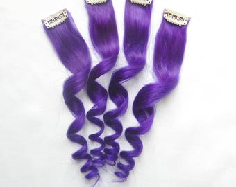Violet Purple Human Hair Extensions (1 pc.), Dark Purple Hair, Hair Extensions, Human Hair, Clip In Extensions, Double Wefted Extensions