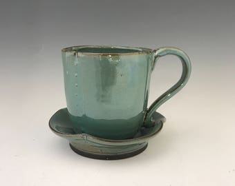 Valentine Turquoise Coffee Mug or Large Tea Cup - Tea Mug  Hot Chocolate Mug Pottery Mug Earthy Mug Ceramic Black Mug Pottery Mug Unique Mug