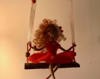 Needle felted doll, Waldorf inspired, Black doll, Black fairy, Swing, Red dress, Felted fairy, Children room, Home decor, Art doll, Gift