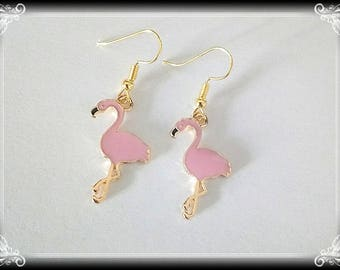 Pink flamingos earrings enameled