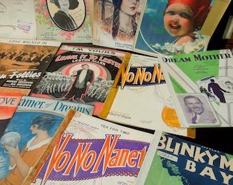 18 PC. Sheet Music Vintage - Cover Art 1920's 30's Music Sheets - Paper Ephemera - Crafts Art Weddings Parties Smash Books Mixed Media -