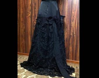 Dark Romantic Victorian Goth Gothic Walking Skirt Black Petticoat