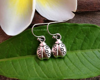 Ladybird earrings. Ladybug earrings. Ladybird jewellery. Ladybug jewelry. Insect earrings. Siver earrings. Xmas gift idea. Gift for her.