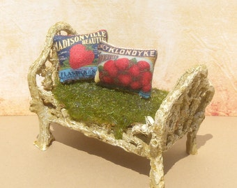 Fruit Label Dollhouse Pillows, Mini Strawberry Label Pillows Set of 2, Miniature Strawberry Pillows