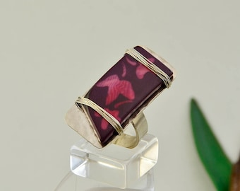 Silver tone tagua ring, rectangular long ring, nature inspired jewelry, hand painted ring, hammered jewelry, large ring, big band
