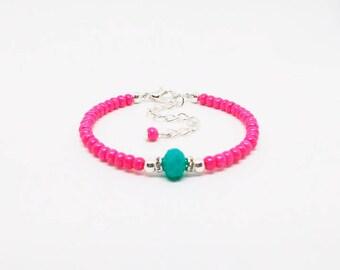 Pink Baby Bracelet Dainty Bracelet Baby Stacking Bracelet Friendship Bracelet Minimalist Bracelet Skinny Beaded Bracelet Tiny Bead Bracelet